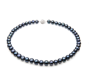 PearlsOnly - Single Black 7-8mm A Quality Freshwater 925 Sterling Silver Cultured Pearl Necklace