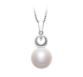 9-10mm AA Quality Freshwater Cultured Pearl Pendant in Sonia White
