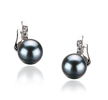 6-7mm AA Quality Japanese Akoya Cultured Pearl Earring Pair in Sydney Black
