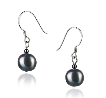 PearlsOnly - Teresa Black 8-9mm A Quality Freshwater 925 Sterling Silver Cultured Pearl Earring Pair Pearl Earring Set