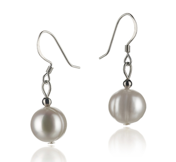 PearlsOnly - Teresa White 8-9mm A Quality Freshwater 925 Sterling Silver Cultured Pearl Earring Pair Pearl Earring Set