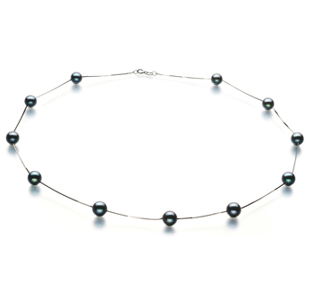 PearlsOnly - Tin Cup Black 6-7mm AA Quality Japanese Akoya 14K White Gold Cultured Pearl Necklace