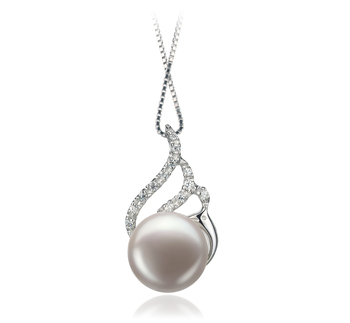 PearlsOnly - Tracy White 12-13mm AA Quality Freshwater 925 Sterling Silver Cultured Pearl Pendant