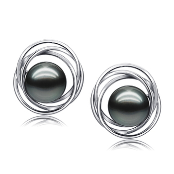 9-10mm AAA Quality Tahitian Cultured Pearl Earring Pair in Triple Circle Stud Black