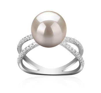 9-10mm AAAA Quality Freshwater Cultured Pearl Ring in Zana White