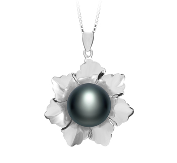 11.5-12mm AA Quality Freshwater Cultured Pearl Pendant in Zoe Black