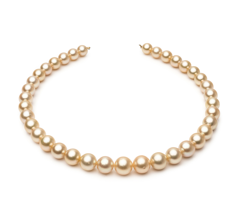 9.6-12.6mm AA+ Quality South Sea Cultured Pearl Necklace in 18-inch Gold - #1
