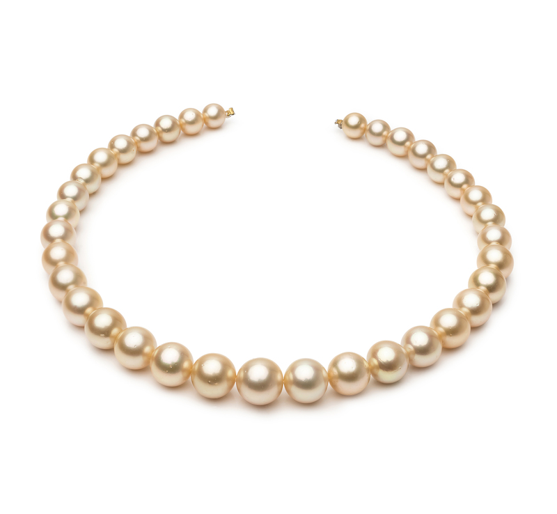 9.3-13.3mm AA Quality South Sea Cultured Pearl Necklace in 18-inch Gold - #1