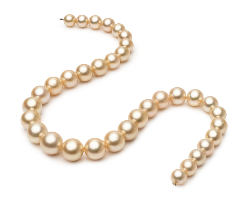 9.3-13.3mm AA Quality South Sea Cultured Pearl Necklace in 18-inch Gold - #2