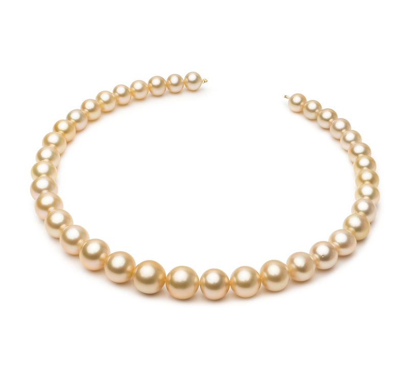 9.3-13.2mm AA+ Quality South Sea Cultured Pearl Necklace in 18-inch Gold - #1