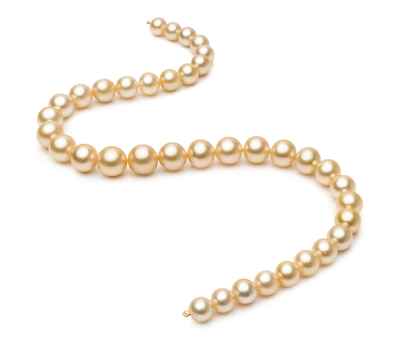 9.3-13.2mm AA+ Quality South Sea Cultured Pearl Necklace in 18-inch Gold - #2