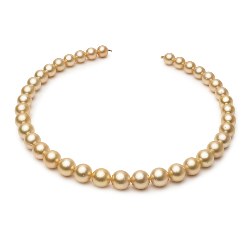 9.5-11.9mm AA Quality South Sea Cultured Pearl Necklace in 18-inch Gold - #1