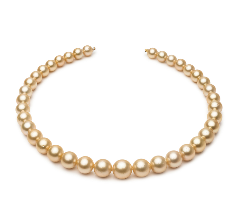 9.2-12.8mm AA Quality South Sea Cultured Pearl Necklace in 18-inch Gold - #1