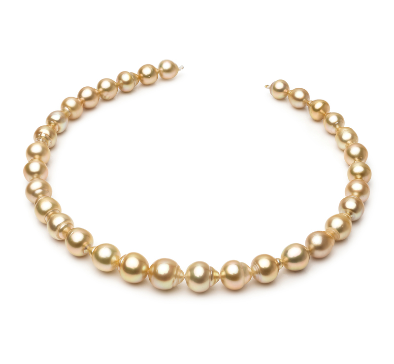 10.1-12.5mm Baroque Quality South Sea Cultured Pearl Necklace in 18-inch Gold - #1