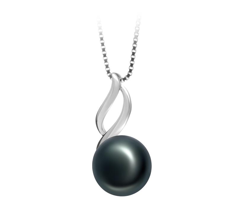10-11mm AAA Quality Freshwater Cultured Pearl Pendant in Adalia Black - #2