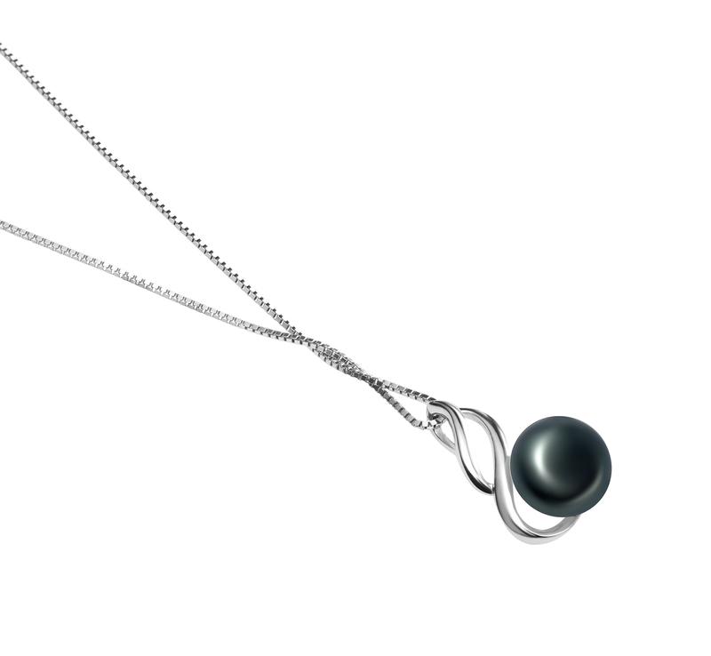 10-11mm AAA Quality Freshwater Cultured Pearl Pendant in Adalia Black - #3