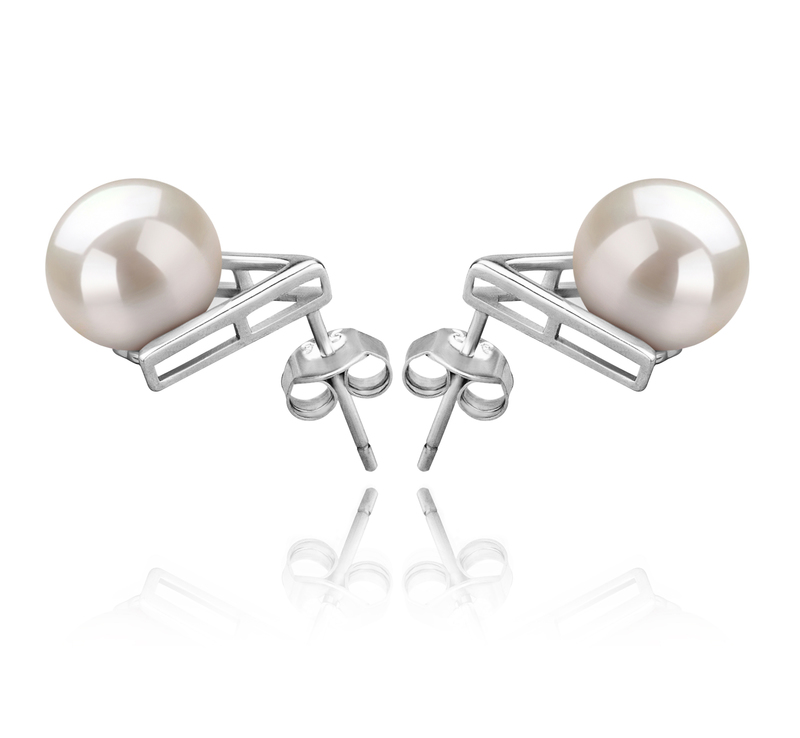 8-9mm AAAA Quality Freshwater Cultured Pearl Earring Pair in Africa White - #3