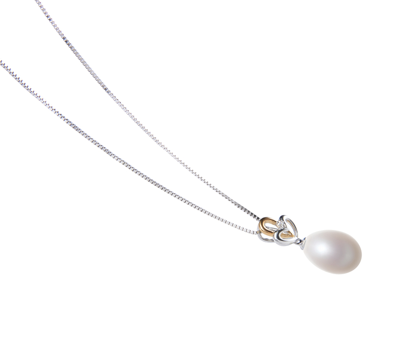 10-11mm AA - Drop Quality Freshwater Cultured Pearl Pendant in Aida White - #3