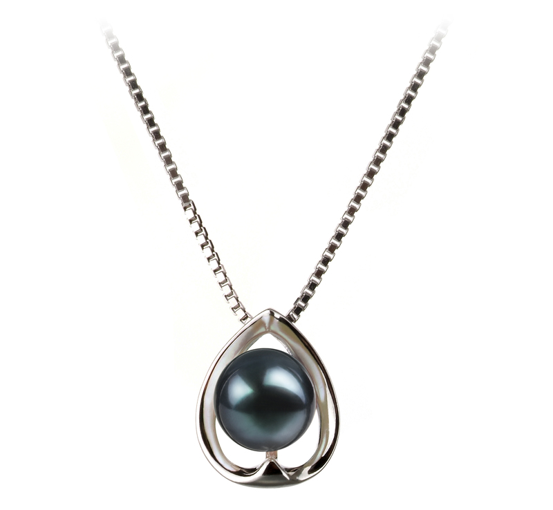 6-7mm AA Quality Japanese Akoya Cultured Pearl Pendant in Amanda Black - #1