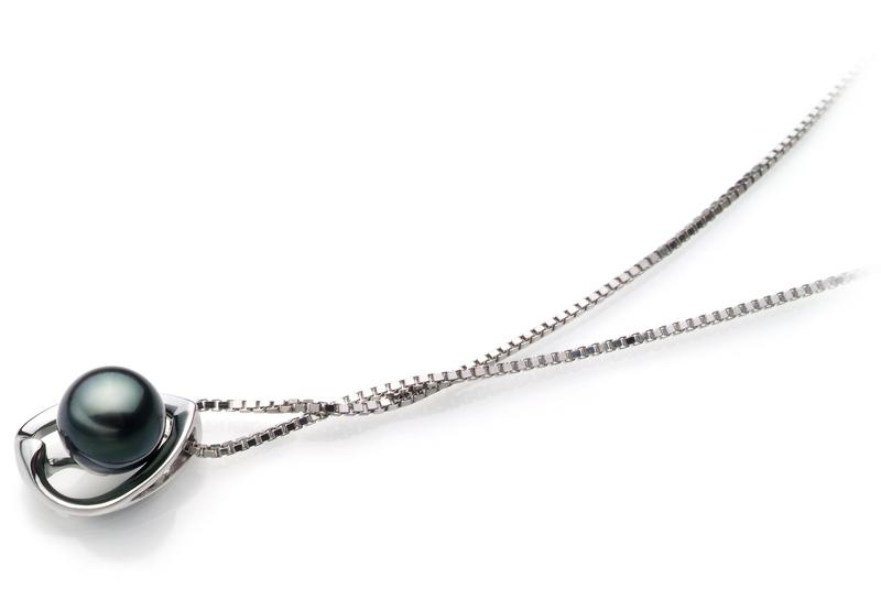 6-7mm AA Quality Japanese Akoya Cultured Pearl Pendant in Amanda Black - #3