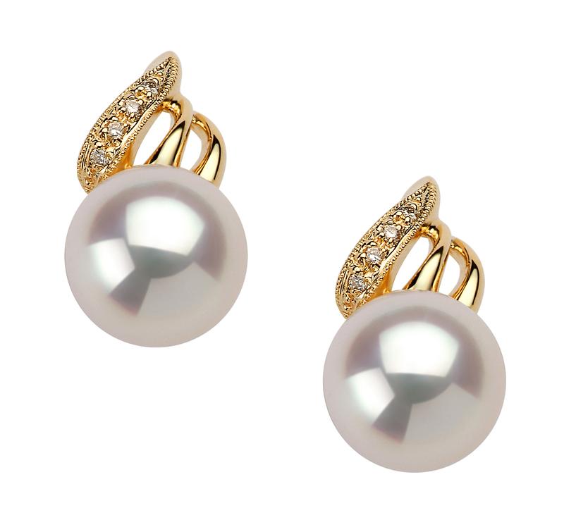 8-9mm AAA Quality Japanese Akoya Cultured Pearl Earring Pair in Anastasia White - #1