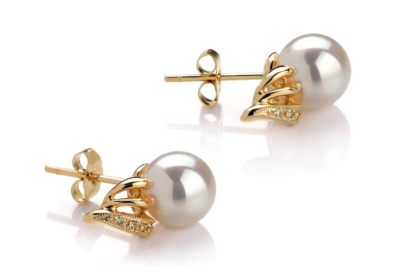 8-9mm AAA Quality Japanese Akoya Cultured Pearl Earring Pair in Anastasia White - #2