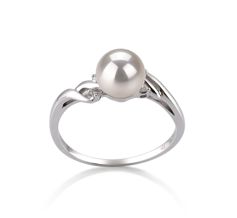 6-7mm AAA Quality Japanese Akoya Cultured Pearl Ring in Andrea White - #1