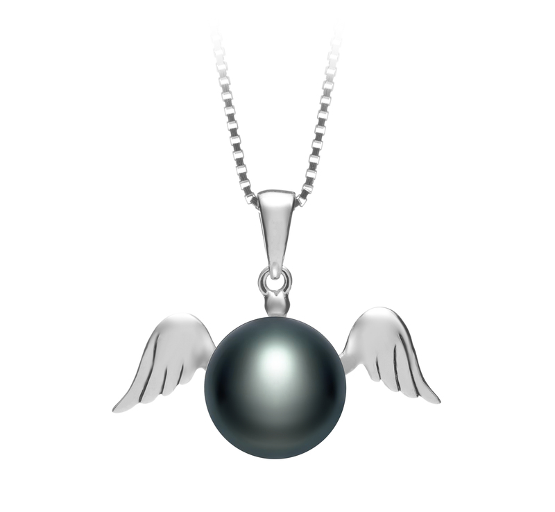 9-10mm AA Quality Freshwater Cultured Pearl Pendant in Angel Black - #1