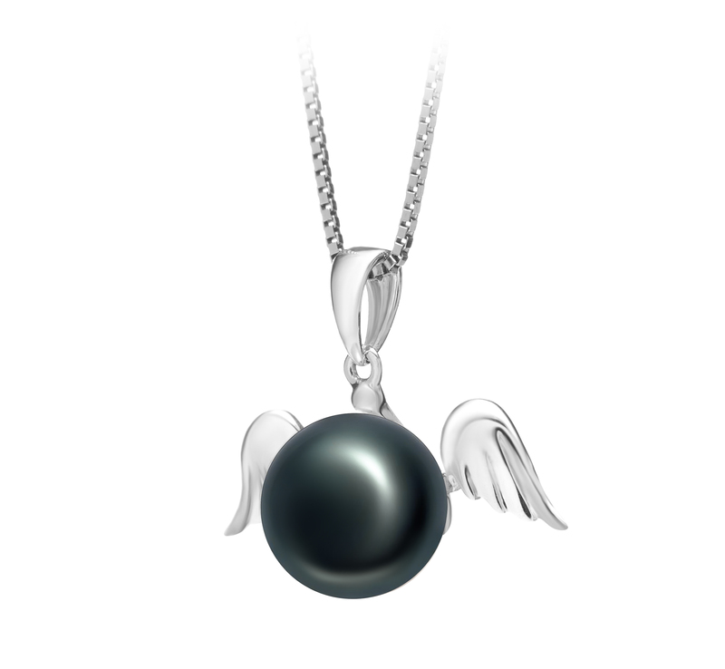 9-10mm AA Quality Freshwater Cultured Pearl Pendant in Angel Black - #2