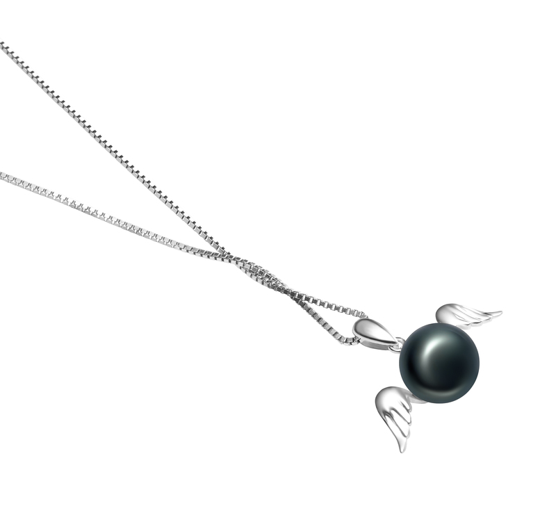 9-10mm AA Quality Freshwater Cultured Pearl Pendant in Angel Black - #3