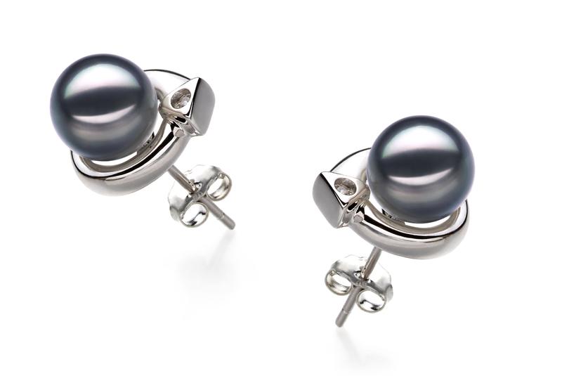 7-8mm AA Quality Japanese Akoya Cultured Pearl Earring Pair in Angelina Black - #2