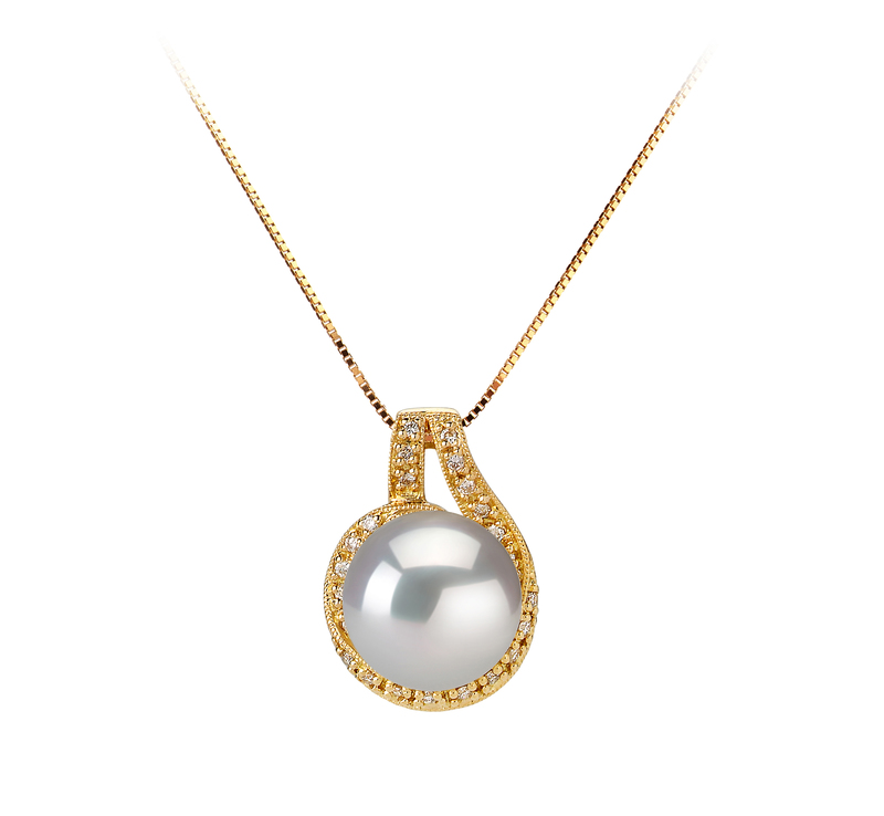 10-11mm AAA Quality South Sea Cultured Pearl Pendant in Angelique White - #1