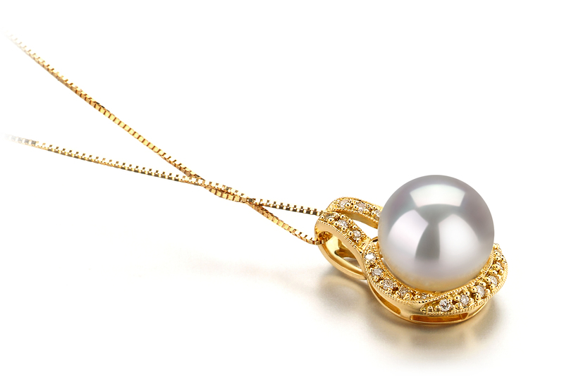 10-11mm AAA Quality South Sea Cultured Pearl Pendant in Angelique White - #2