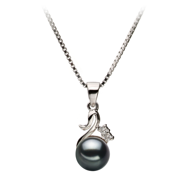 6-7mm AA Quality Japanese Akoya Cultured Pearl Pendant in Ariana Black - #1
