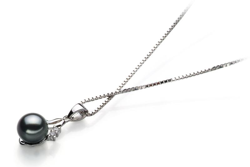 6-7mm AA Quality Japanese Akoya Cultured Pearl Pendant in Ariana Black - #3