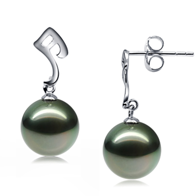 9-10mm AAA Quality Tahitian Cultured Pearl Earring Pair in Assina Abstract Black - #3