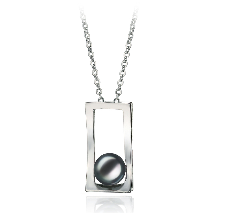 7-8mm AA Quality Freshwater Cultured Pearl Pendant in Athena Black - #1