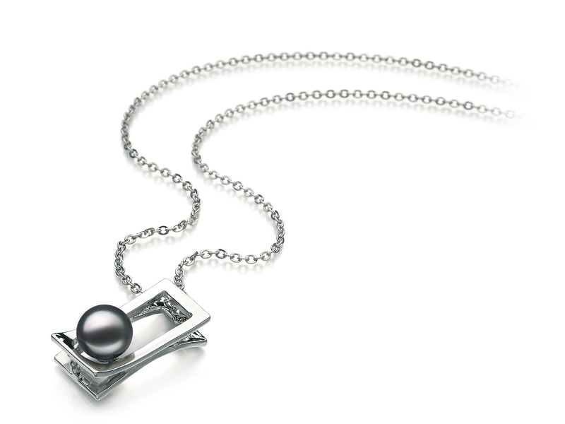 7-8mm AA Quality Freshwater Cultured Pearl Pendant in Athena Black - #2
