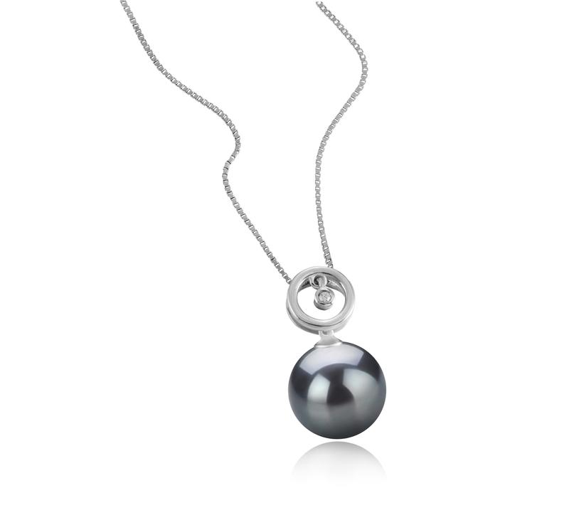 11-12mm AAA Quality Tahitian Cultured Pearl Pendant in Aurora Black - #2