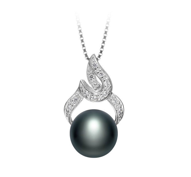 10-11mm AAA Quality Freshwater Cultured Pearl Pendant in Bebra Black - #1