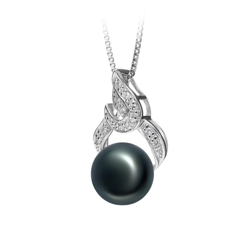 10-11mm AAA Quality Freshwater Cultured Pearl Pendant in Bebra Black - #2