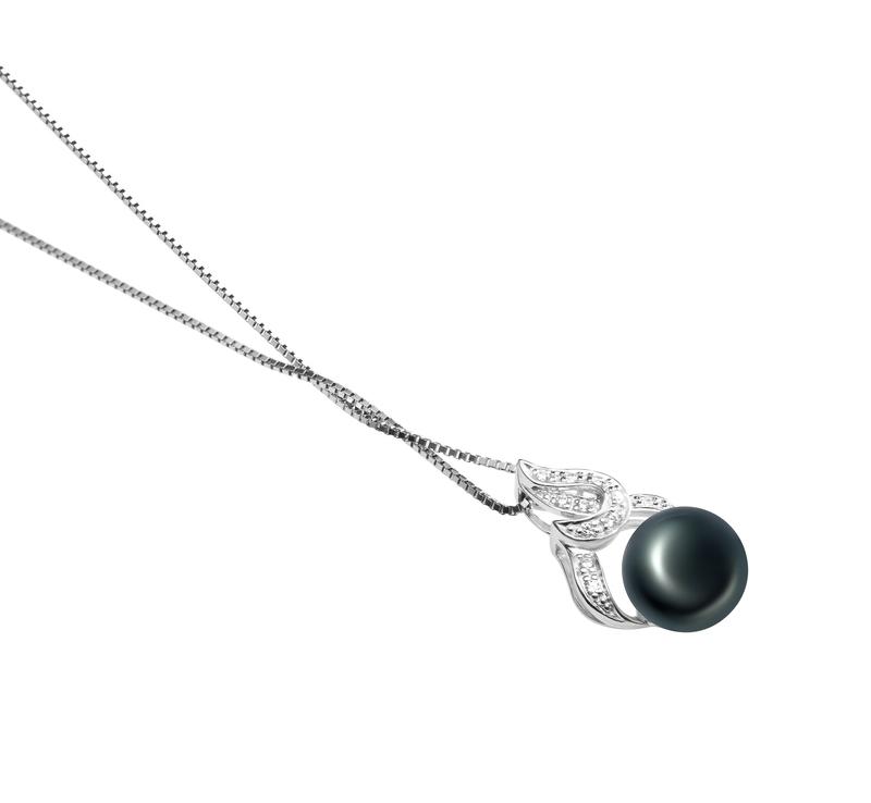 10-11mm AAA Quality Freshwater Cultured Pearl Pendant in Bebra Black - #3
