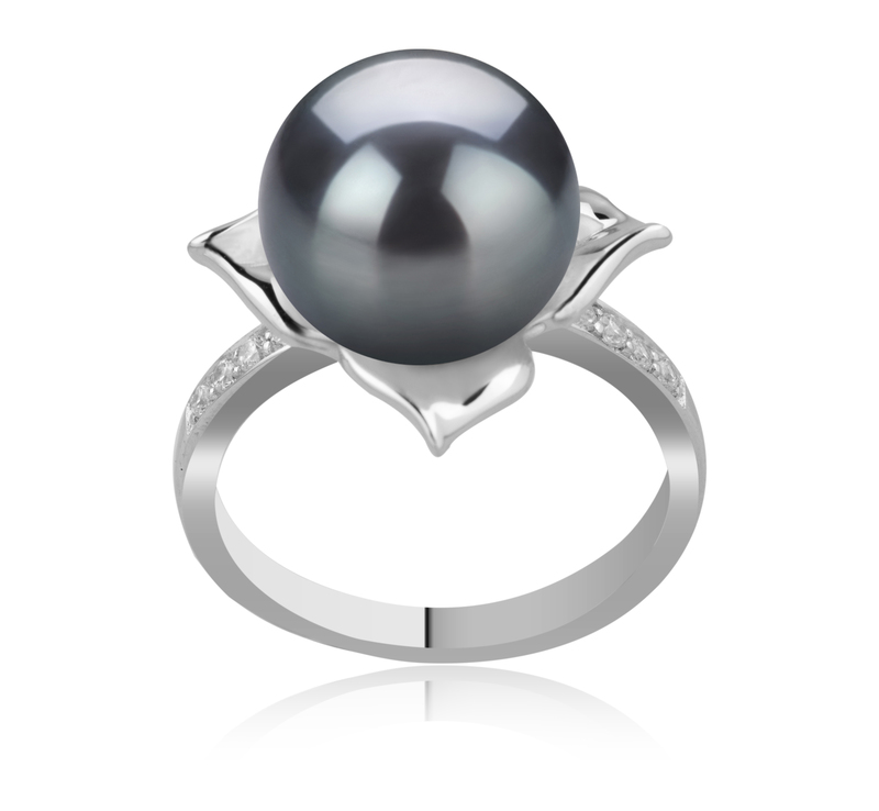10-11mm AAA Quality Tahitian Cultured Pearl Ring in Billy Black - #1