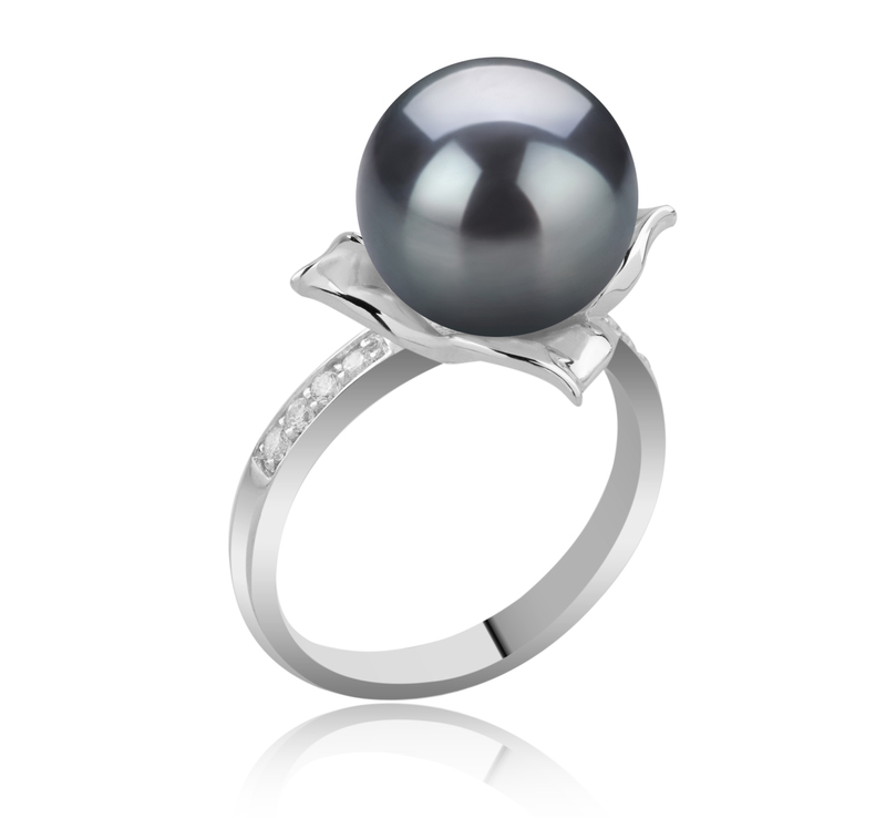 10-11mm AAA Quality Tahitian Cultured Pearl Ring in Billy Black - #2