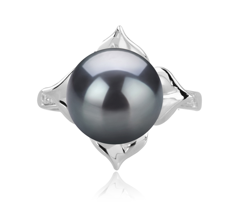 10-11mm AAA Quality Tahitian Cultured Pearl Ring in Billy Black - #3