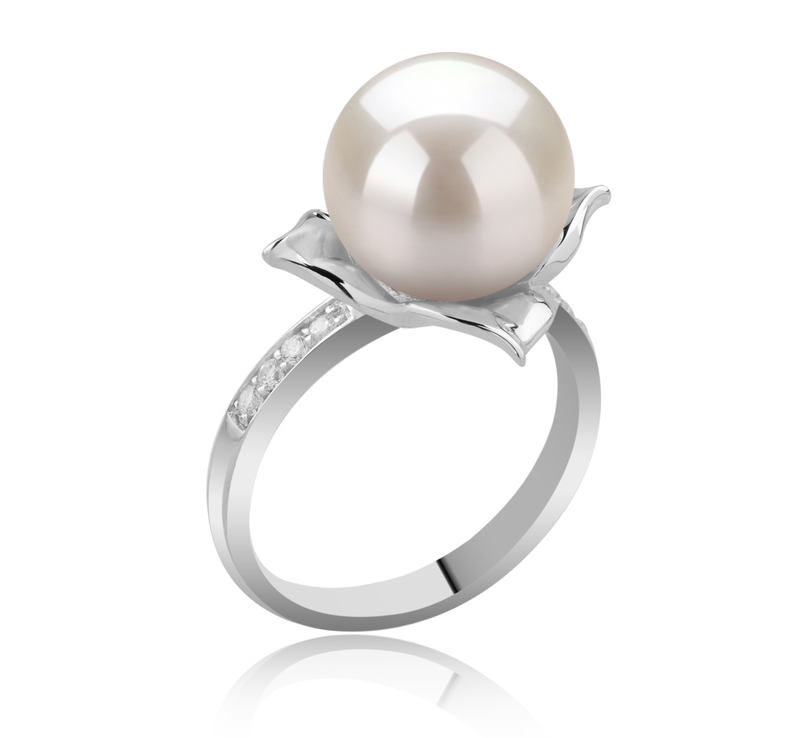 10-11mm AAAA Quality Freshwater Cultured Pearl Ring in Billy White - #2
