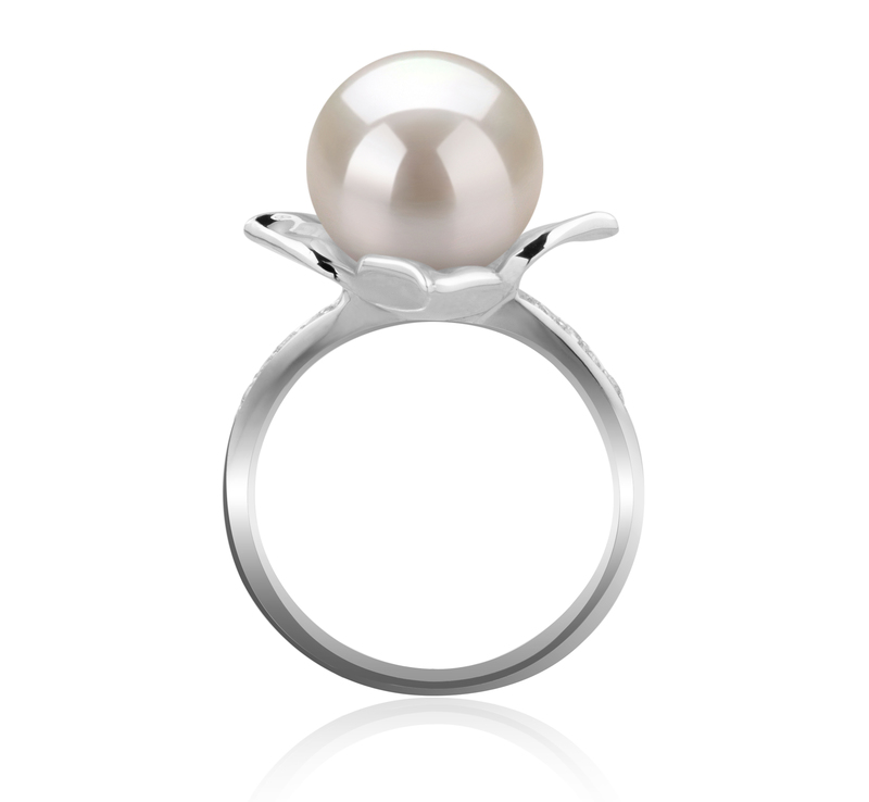 10-11mm AAAA Quality Freshwater Cultured Pearl Ring in Billy White - #4