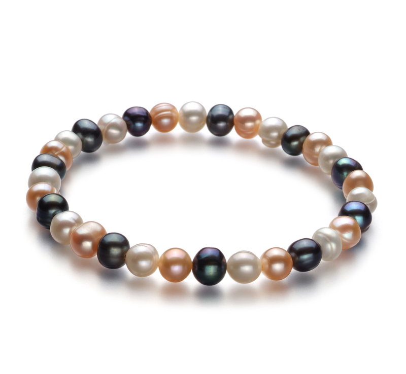 6-7mm A Quality Freshwater Cultured Pearl Bracelet in Bliss Multicolor - #1