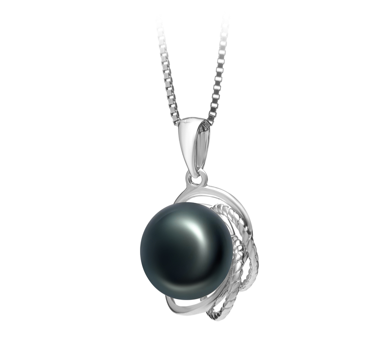 9-10mm AA Quality Freshwater Cultured Pearl Pendant in Bobbie Black - #2
