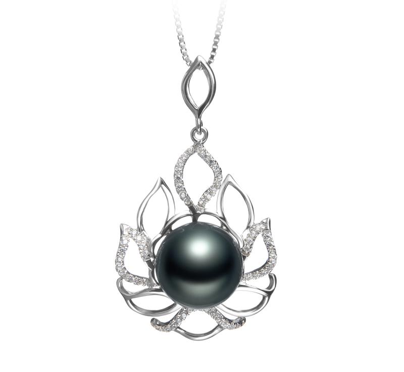 12-13mm AAA Quality Tahitian Cultured Pearl Pendant in Calida Black - #1